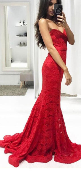 Sexy Red Lace Mermaid Long Evening Prom Dresses, Cheap Custom Sweet 16 Dresses, 18501