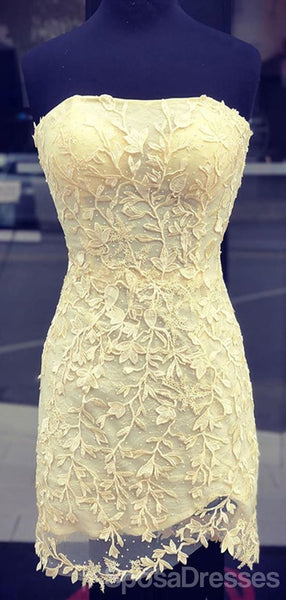 Yellow Mermaid Lace Beaded Cheap Short Homecoming Dresses Online, Cheap Short Prom Dresses, CM821