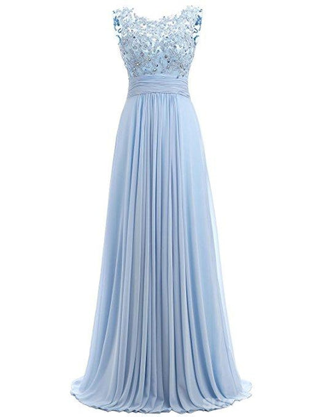 Light Blue Lace See Through Chiffon Long Evening Prom Dresses, 17529