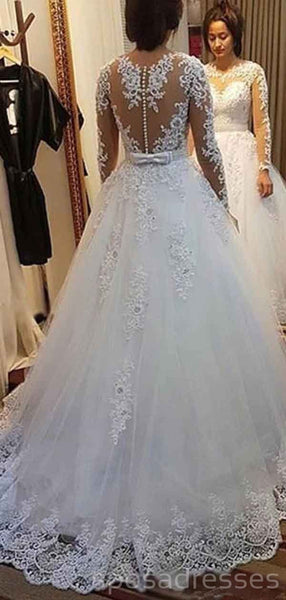 Long Sleeves Detachable Lace Wedding Dresses Online, Cheap Bridal Dresses, WD503
