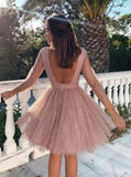 Long Sleeves Dusty Pink Sparkly Short Cheap Homecoming Dresses Online, CM820