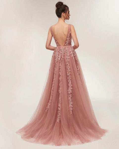 073121b3b264 Dusty Pink V Neck Lace Beaded Long Evening Prom Dresses, Cheap Custom Sweet  16 Dresses