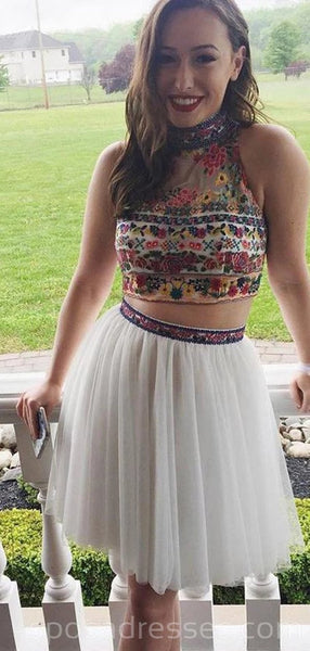 Sexy Two Pieces White Embroidery Cheap Homecoming Dresses Online, Cheap Short Prom Dresses, CM744