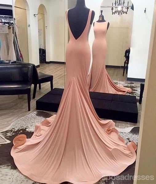 Mermaid Sexy Blush Pink Evening Prom Dresses, Long Backless Party Prom Dresses, 17121