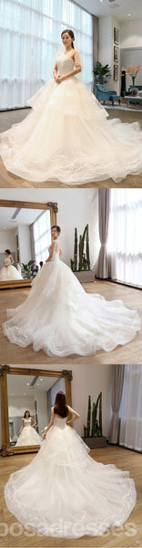 Two Straps Tulle Lace A line Long Tail Wedding Dresses, Custom Made Long Wedding Gown, Cheap Wedding Gowns, WD204