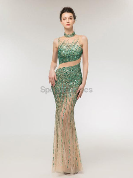 High Neck Heavily Beaded Mermaid Long Evening Prom Dresses, Evening Party Prom Dresses, 12007