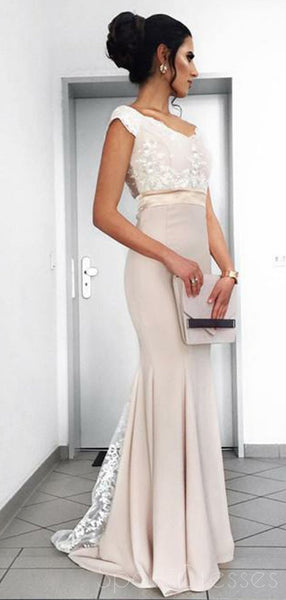Dusty Champagne Mermaid Cap Sleeves Long Evening Prom Dresses, Cheap Sweet 16 Dresses, 18336
