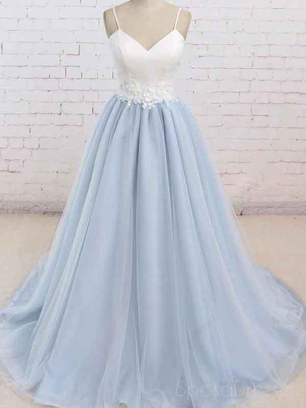 Simple Spaghetti Straps Light Blue A line Long Evening Prom Dresses, 17525