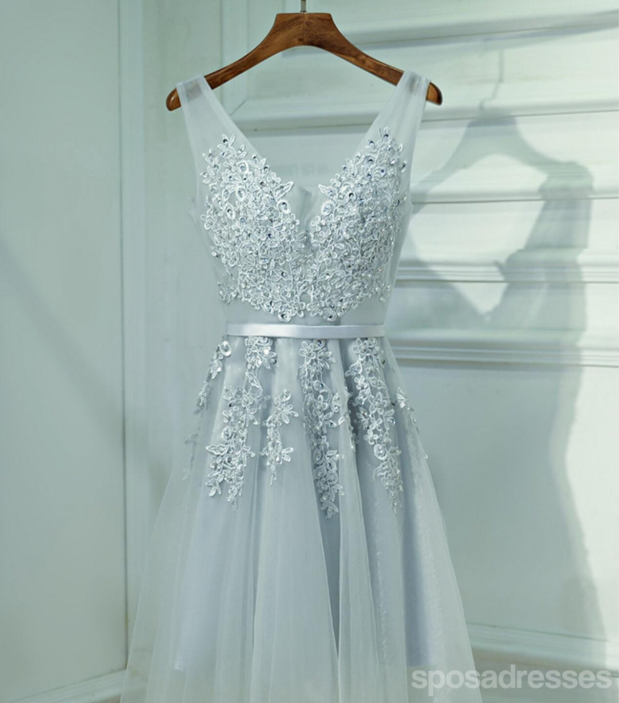 Cute Gray Lace v Neckline Short Homecoming Prom Dresses ...