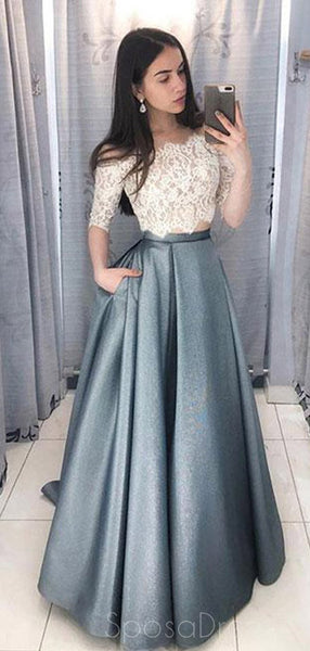 Two Pieces Half Sleeve Lace Grey Long Evening Prom Dresses, Cheap Sweet 16 Dresses, 18433