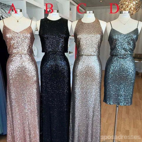 Affordable Mismatched Sequin Long Bridesmaid Dresses, Cheap Unique Custom Long Bridesmaid Dresses, Affordable Bridesmaid Gowns, BD108