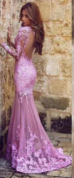 Long Sleeve Lilac Mermaid Lace Party Prom Dresses, Cheap Long Prom Dresses, PD1702