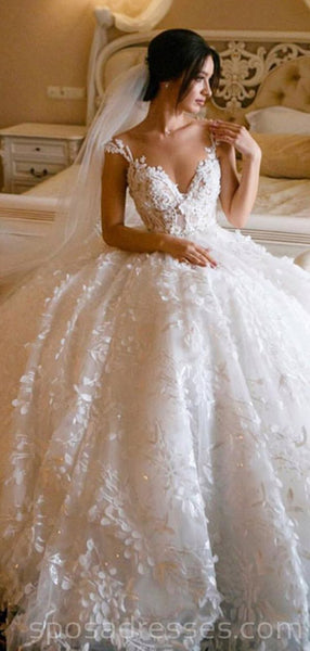 Lace Straps Ball Gown V-neck Long Wedding Dresses Online, Cheap Bridal Dresses, WD546