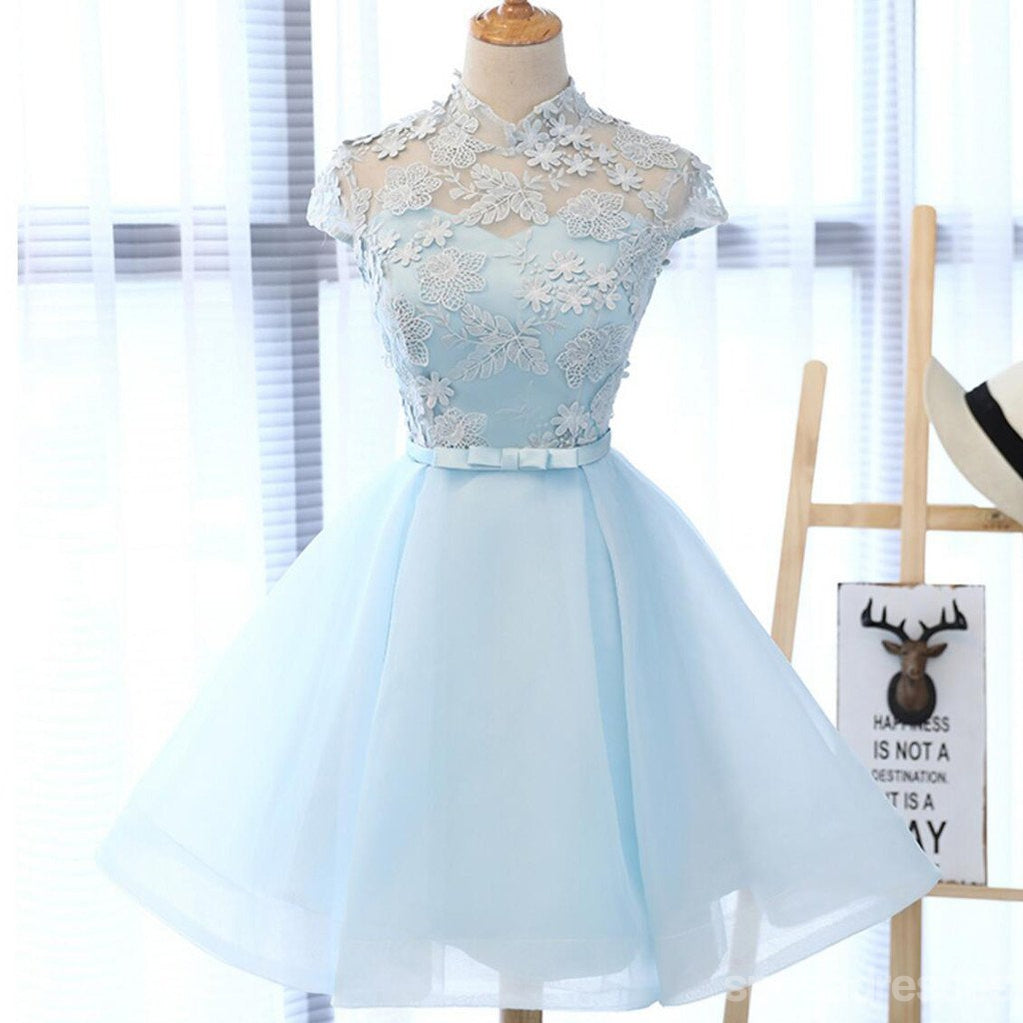 High Neckline Light Blue Cute Homecoming Prom Dresses, Affordable ...