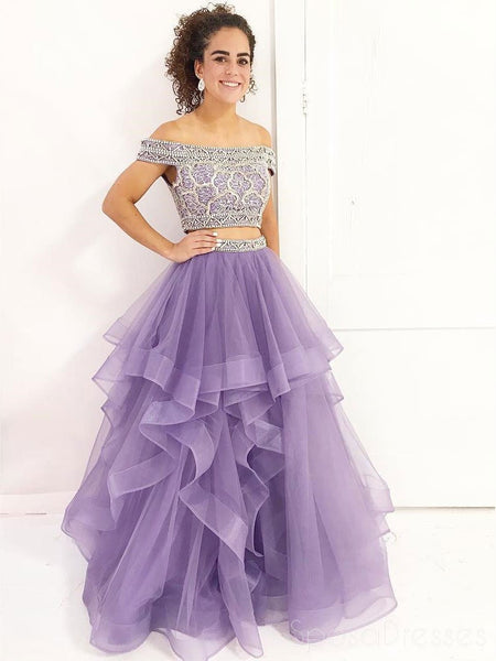 Lilac Off Shoulder Organza Two Pieces A line Long Custom Evening Prom Dresses, 17444