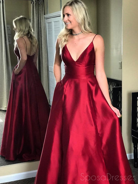 Simple Red Spaghetti Straps A-line Long Evening Prom Dresses, 17548
