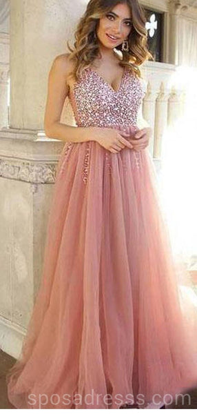 Dusty Pink V Neck Beaded Long Evening Prom Dresses, Cheap Custom Sweet 16 Dresses, 18559