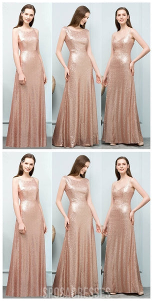 Cheap Sparkly Floor Length Mismatched Gold Sequin Bridesmaid Dresses, WG547