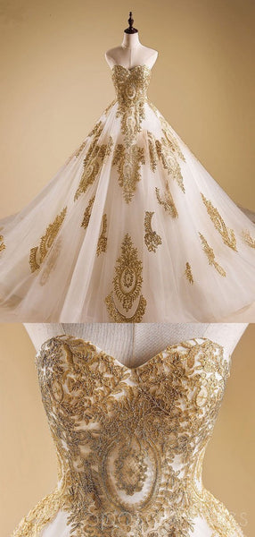 Sweetheart Gold Lace A-line Long Evening Prom Dresses, Cheap Custom Sweet 16 Dresses, 18527
