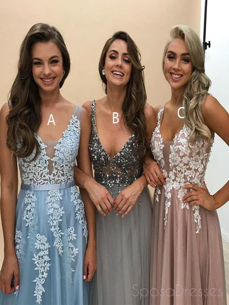 Deep V Neckline Lace Beaded Long Evening Prom Dresses, Popular Cheap Long Custom Party Prom Dresses, 17321