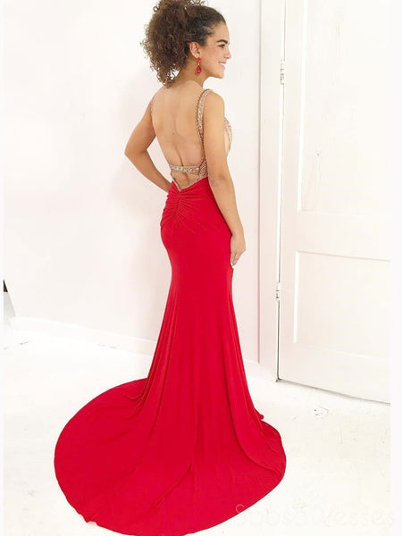Red Sexy See Through Backless Beaded Mermaid Long Custom Evening Prom Dresses, 17445