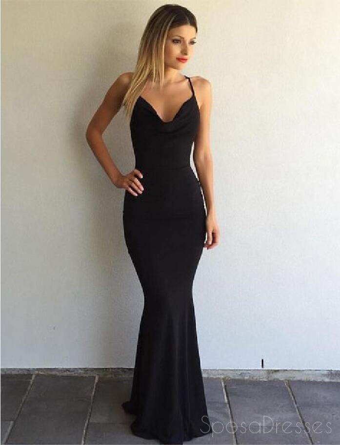 Black Backless Mermaid Evening Prom Dresses Long Simple Party Prom