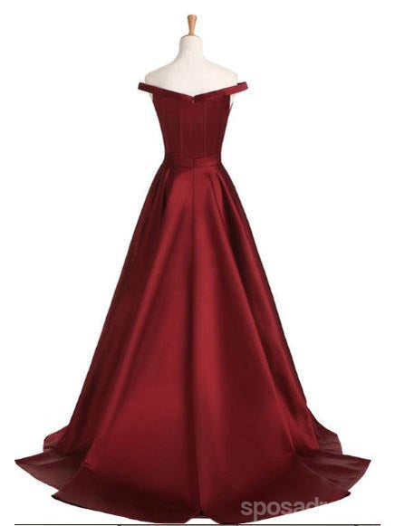 2018 Fashion New Style Simple Off the Shoulder Maroon A line Long Evening Prom Dresses, 17351