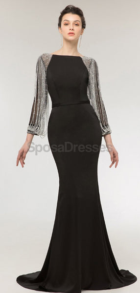 Long Sleeves Black Mermaid Long Evening Prom Dresses, Evening Party Prom Dresses, 12008