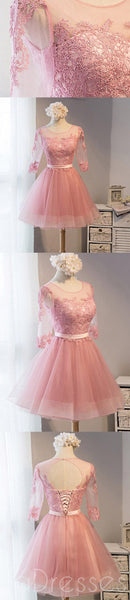 Long Sleeve Pink Lace Short Homecoming Prom Dresses, Affordable Short Party Prom Sweet 16 Dresses, Perfect Homecoming Cocktail Dresses, CM371