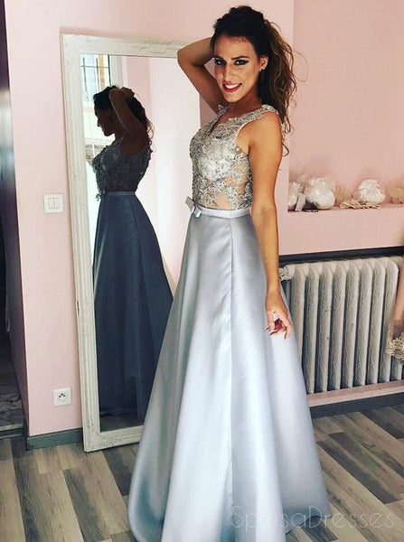 Sexy Lace See Through Grey A-line Long Evening Prom Dresses, Sparkly Sweet 16 Dresses, 18337