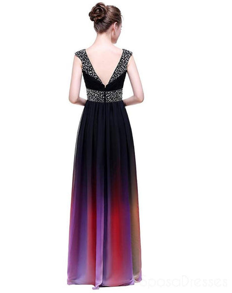 Cap Sleeves Beaded Ombre Cheap Long Evening Prom Dresses,  Custom Sweet16 Dresses, 18398