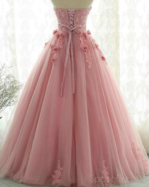 Sweetheart Blush Pink Lace Evening Prom Dresses, Sweet 16 Dresses, 17491