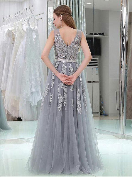 2018 Gray Lace V Neckline Tulle Long Evening Prom Dresses, Popular Cheap Long 2018 Party Prom Dresses, 17265