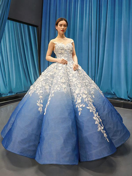 Jewel Neck Ombre Blue Ball Gown Evening Prom Dresses, Evening Party Prom Dresses, 12254