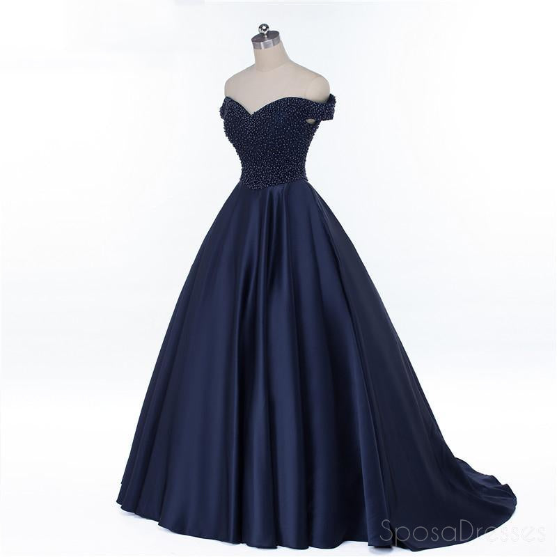 Off Shoulder Navy Blue Beaded A line Long Evening Prom Dresses, Popular Cheap Long 2018 Party Prom Dresses, 17230