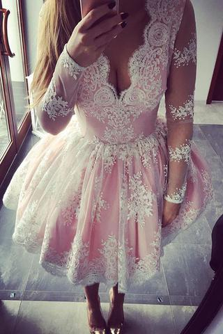 Long Sleeve Lace Pink Homecoming Prom Dresses, Affordable Short Party Prom Sweet 16 Dresses, Perfect Homecoming Cocktail Dresses, CM364