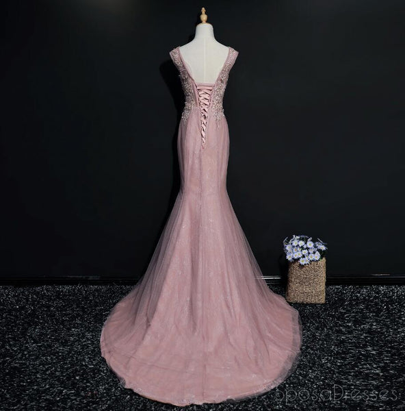 Lace Mermaid Cap Sleeve Scoop Neckline Unique Long Evening Prom Dresses, Popular 2018 Party Prom Dresses, Custom Long Prom Dresses, Cheap Formal Prom Dresses, 17217