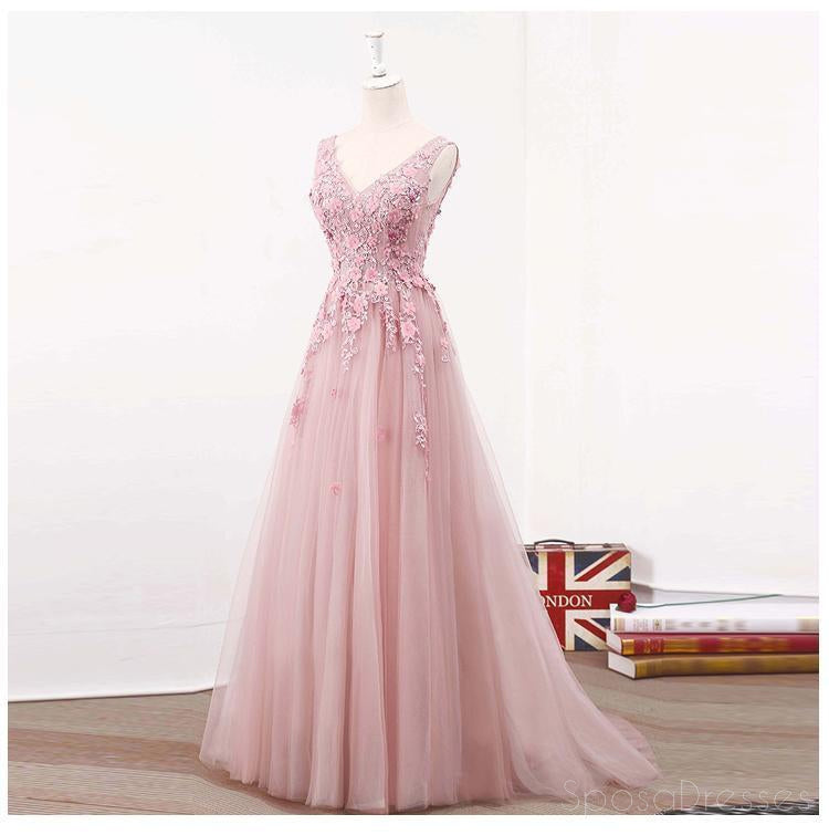 See Through Blush Pink Lace A line Long Evening Prom Dresses ...