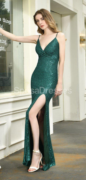Emerald Green Spaghetti Straps Side Slit Sequin Evening Prom Dresses, Evening Party Prom Dresses, 12273