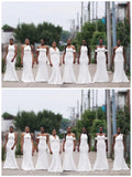 Off White Mismatched Mermaid Cheap Long Cheap Bridesmaid Dresses Online, WG643