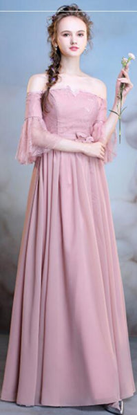 Chiffon Dusty Pink Long Mismatched Simple Cheap Bridesmaid Dresses Online, WG508