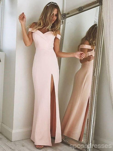Off Shoulder Side Slit Blush Pink Mermaid Long Evening Prom Dresses, 17512