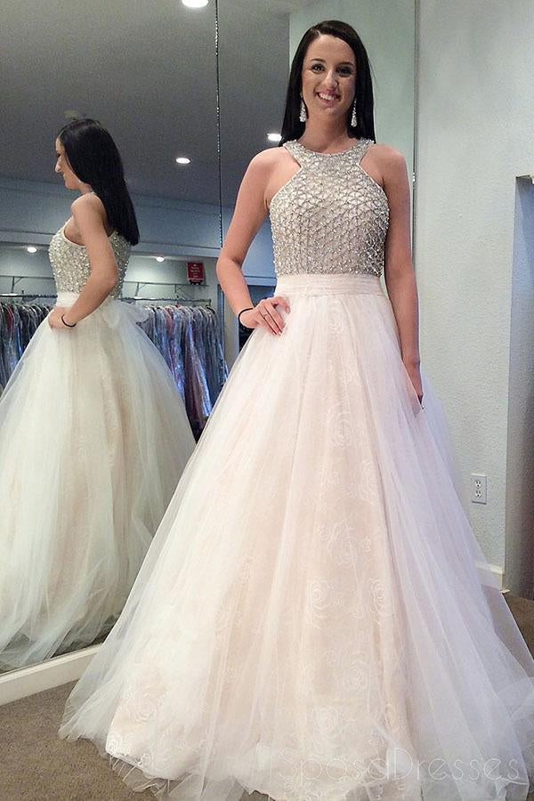 Halter Beaded Ivory A-line Cheap Evening Prom Dresses, Sweet 16 Dresses, 17496