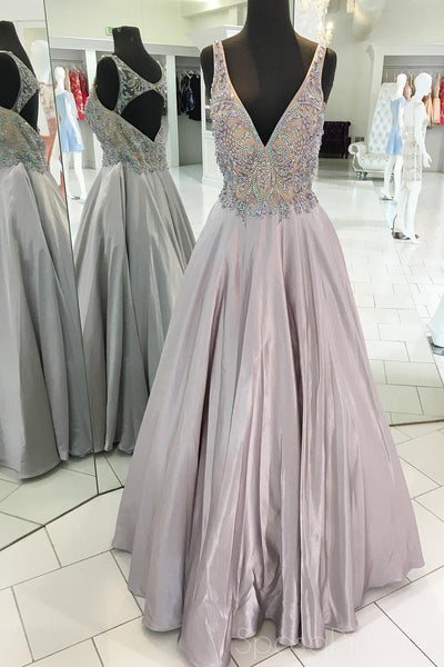 Open Back Grey Beaded V Neck Long Evening Prom Dresses, 17516