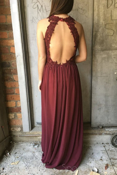 Sexy Open Back Maroon Halter Chiffon Long Evening Prom Dresses, 17519