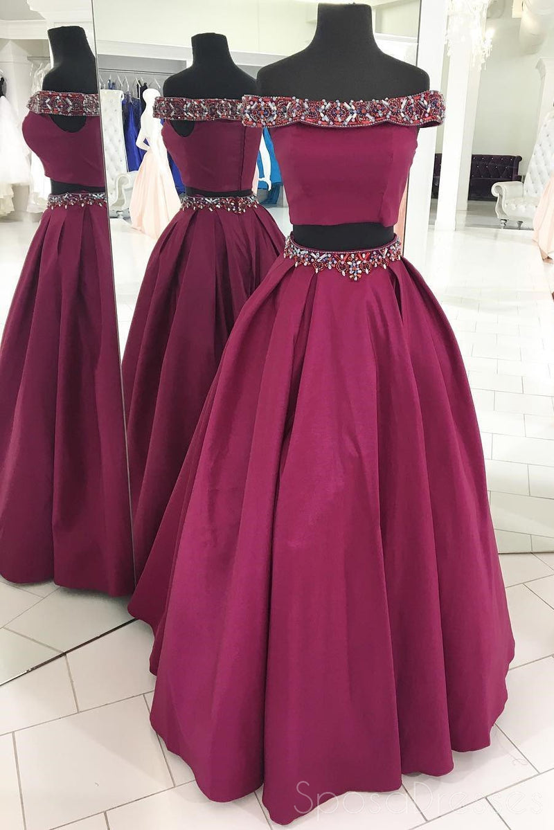 Two Pieces Off Shoulder Purple Beaded A-line Cheap Evening Prom Dresses, Sweet 16 Dresses, 17497