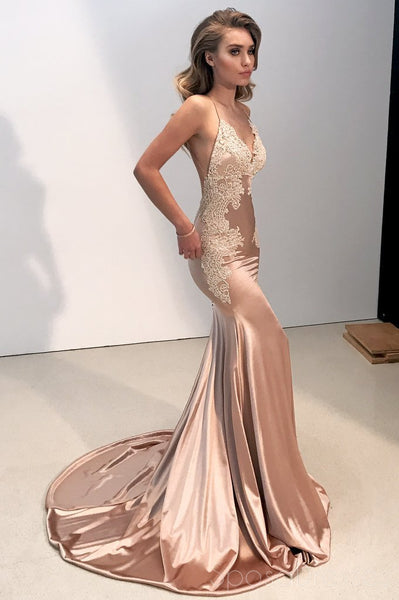 Sexy Backless Champagne V Neck Lace Mermaid Long Evening Prom Dresses, 17520