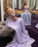 Lilac Off Shoulder Chiffon Lace Beaded Long Evening Prom Dresses, 17521