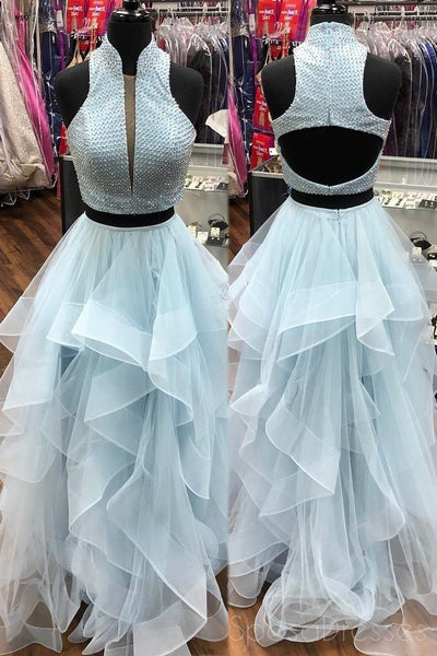 Sexy Two Pieces High Neck Pale Blue A line Long Evening Prom Dresses, 17532