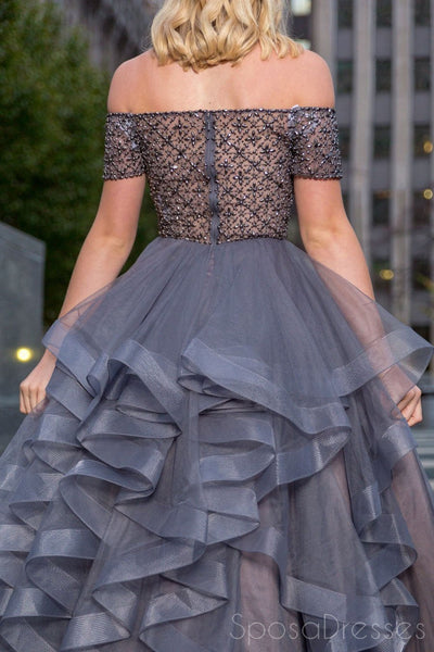 Off Shoulder See Through Beaded Grey Beaded A line Long Evening Prom Dresses, 17533